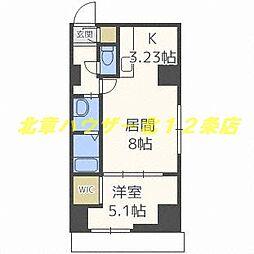 札幌市電2系統 中央区役所前駅 徒歩2分の賃貸マンション 11階1LDKの間取り