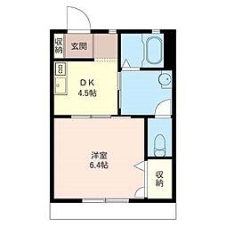 フローラ湘南[1階]の間取り