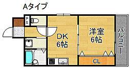 ウィングテル御崎[4階]の間取り