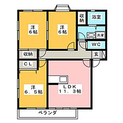 ローズガーデン・鹿菅 B[1階]の間取り