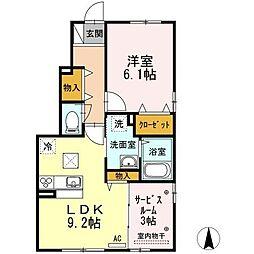 香川県高松市三谷町の賃貸アパートの間取り
