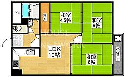 九条住宅B棟[415号室号室]の間取り