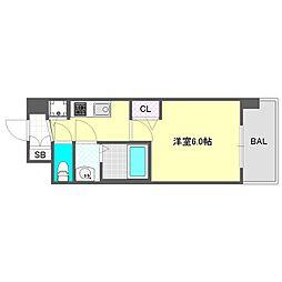 アドバンス大阪グロウスII 11階1Kの間取り