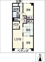 メゾンドゥールII[4階]の間取り