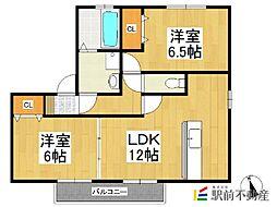 福岡県八女市本村の賃貸アパートの間取り