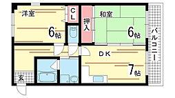 兵庫県神戸市中央区熊内橋通3丁目の賃貸マンションの間取り