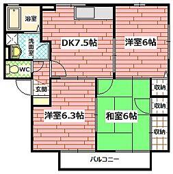 ウィルモア A棟[2階]の間取り