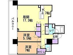 シティタワー札幌 22階2LDKの間取り