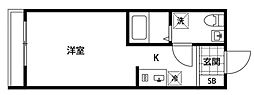 ポルトグランデ四谷三丁目 4階1Kの間取り