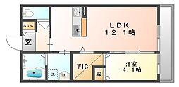 岡山県倉敷市児島赤崎1丁目の賃貸アパートの間取り