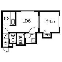 北海道札幌市北区新川二条7丁目の賃貸アパートの間取り