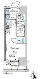 東京メトロ東西線 門前仲町駅 徒歩5分の賃貸マンション 13階ワンルームの間取り