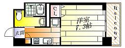 パークナードフィット箕面船場 2階ワンルームの間取り