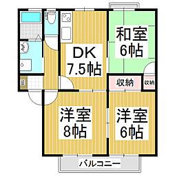 グリーンハイツベル D棟[2階]の間取り