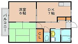 ディアス空港前B[2階]の間取り