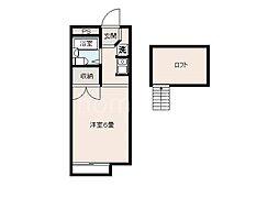 JR片町線(学研都市線) 忍ヶ丘駅 徒歩10分の賃貸アパート 2階ワンルームの間取り