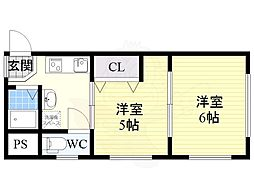Osaka Metro御堂筋線 中津駅 徒歩10分の賃貸マンション 4階2Kの間取り