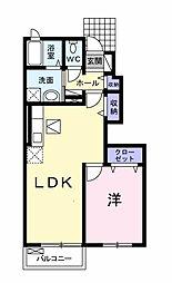 愛知県岡崎市竜美大入町1丁目の賃貸アパートの間取り