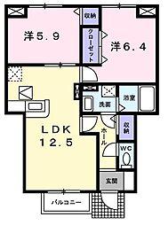 東京都青梅市大柳町の賃貸アパートの間取り