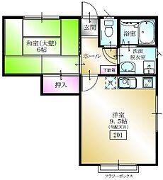 多賀台ヒルズアパート[201号室]の間取り