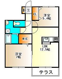 フレッツァ神戸山田A棟[205号室]の間取り