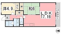テルツォ南新在家[204号室]の間取り