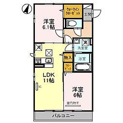埼玉県さいたま市見沼区小深作の賃貸アパートの間取り