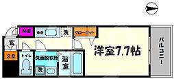 エグゼ上町台 8階1Kの間取り