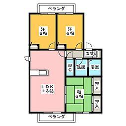 ディアス篠ヶ瀬[2階]の間取り