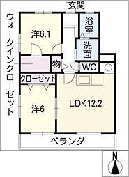 ツインズA棟[2階]の間取り