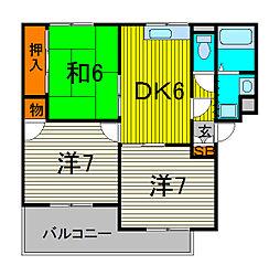 ジュネス戸田[1階]の間取り