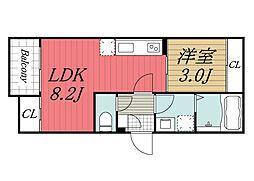 JR京葉線 蘇我駅 徒歩7分の賃貸アパート 3階1LDKの間取り