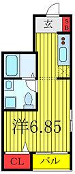 キュリオスコート西尾久 2階ワンルームの間取り