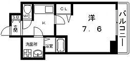 ララプレイス四天王寺前夕陽ヶ丘プルミエ 3階1Kの間取り