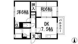 兵庫県宝塚市寿町の賃貸アパートの間取り