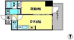 エステムコート大阪新町 6階1DKの間取り