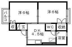 静岡県浜松市中区佐鳴台2丁目の賃貸アパートの間取り