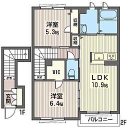 仮)ビューテラスK III[2階]の間取り