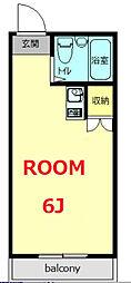 サンサーラ弘明寺II 2階ワンルームの間取り