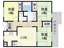 阪急千里線 南千里駅 徒歩27分の賃貸マンション 3階3LDKの間取り