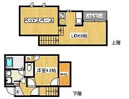 コンフォートベネフィスジオ博多東III[1階]の間取り
