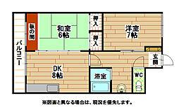 福岡県北九州市小倉北区上到津4丁目の賃貸マンションの間取り