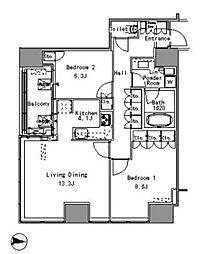 JR山手線 浜松町駅 徒歩3分の賃貸マンション 17階2LDKの間取り