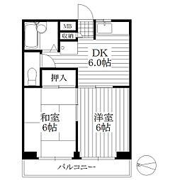 コーポアヅマ[2階]の間取り