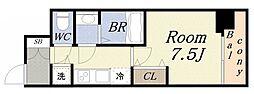 ジアコスモ大阪ベイシティ 5階1Kの間取り