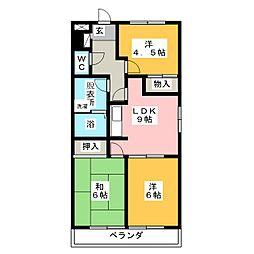 ユーハウス左京山[6階]の間取り