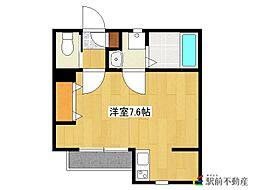 西鉄貝塚線 名島駅 徒歩11分の賃貸アパート 1階ワンルームの間取り