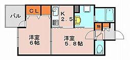ソレアードリブ[5階]の間取り