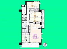 ご家族で過ごすLDKが約22帖の広さ各居室も6帖以上の快適なお部屋になりそうですね。