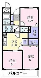 千葉県船橋市夏見台2丁目の賃貸マンションの間取り